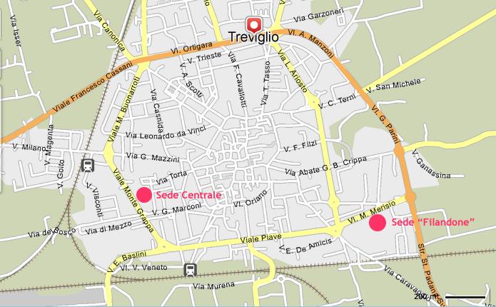 Mappa di Treviglio con l'ubicazione delle due sedi