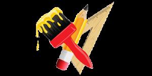 pennello matita e squadra