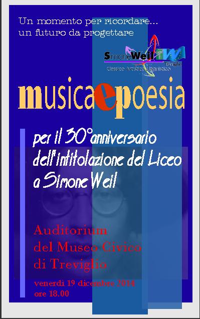 Locandina 30° anniversario dall'intitolazione del Liceo a Simone Weil